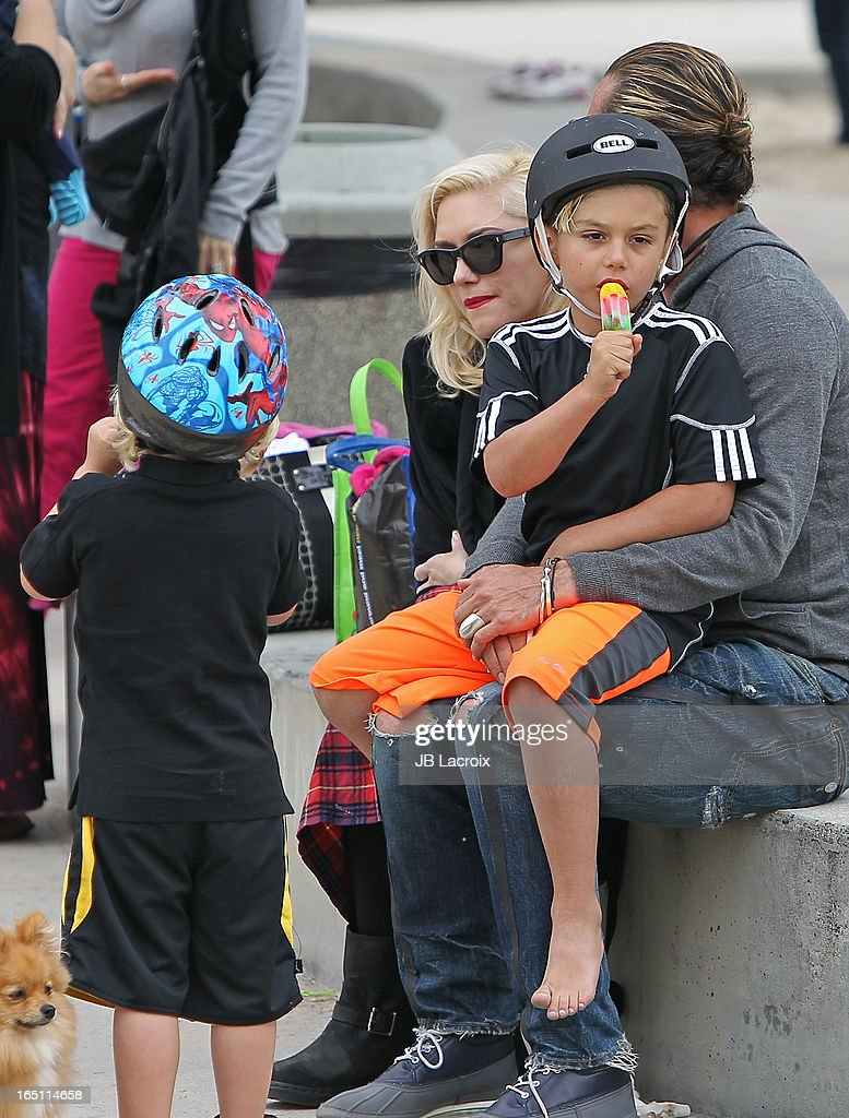 Gwen Stefani, Gavin Rossdale, Kingston Rossdale and Zuma Rossdale are seen on March 30, 2013 in Los Angeles, California.