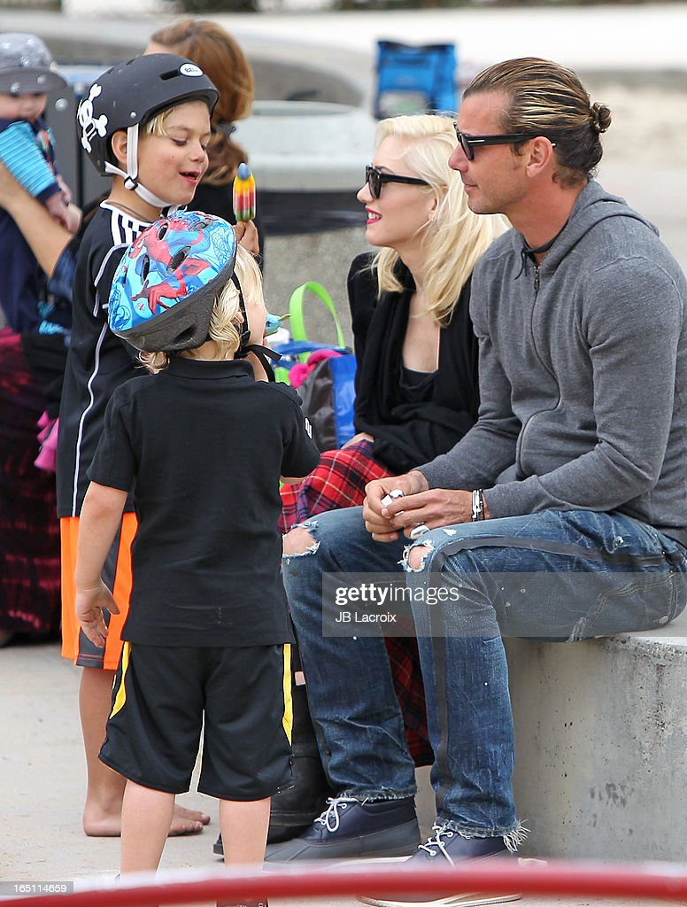 Gwen Stefani, Gavin Rossdale, Kingston Rossdale and Zuma Rossdale are seen on March 30, 2013 in Los Angeles, California.