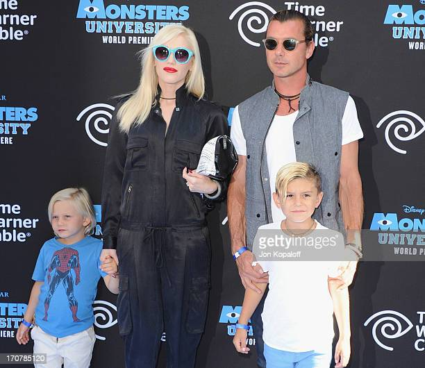 Gwen Stefani husband Gavin Rossdale and sons Kingston Rossdale and Zuma Rossdale arrive at the Los Angeles Premiere 'Monsters University' at the El...