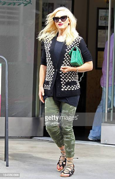 Gwen Stefani is seen at Nail Garden salon on October 22 2012 in Los Angeles California