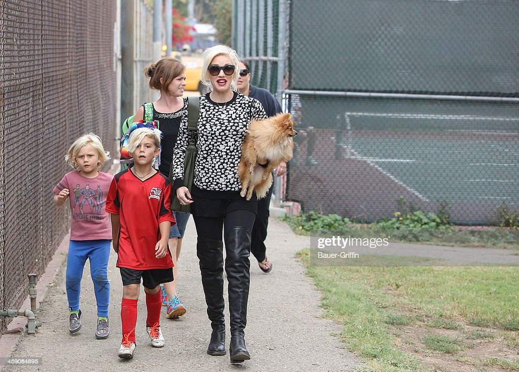 Gwen Stefani, Kingston Rossdale and Chewy go to watch kingston play soccer in Studio City on September 21, 2013 in Los Angeles, California.