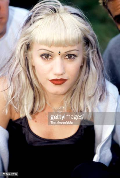 Gwen Stefani of No Doubt backstage Live 105's BFD 1996 at Shoreline Amphitheatre on June 14 1996 in Mountain View California
