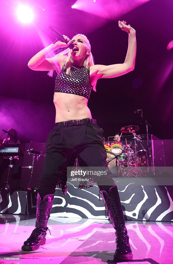 <a gi-track='captionPersonalityLinkClicked' href=/galleries/search?phrase=Gwen+Stefani&family=editorial&specificpeople=156423 ng-click='$event.stopPropagation()'>Gwen Stefani</a> of No Doubt performs at the KROQ Acoustic Xmas show at Gibson Amphitheatre on December 9, 2012 in Universal City, California.