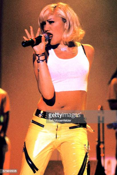 Gwen Stefani of No Doubt performs Live 105's BFD 1996 at Shoreline Amphitheatre on June 14 1996 in Mountain View California