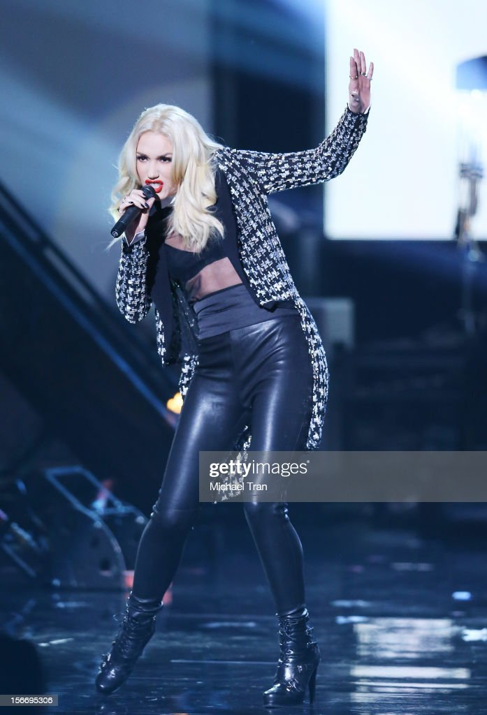 <a gi-track='captionPersonalityLinkClicked' href=/galleries/search?phrase=Gwen+Stefani&family=editorial&specificpeople=156423 ng-click='$event.stopPropagation()'>Gwen Stefani</a> of No Doubt performs onstage at The 40th American Music Awards held at Nokia Theatre L.A. Live on November 18, 2012 in Los Angeles, California.