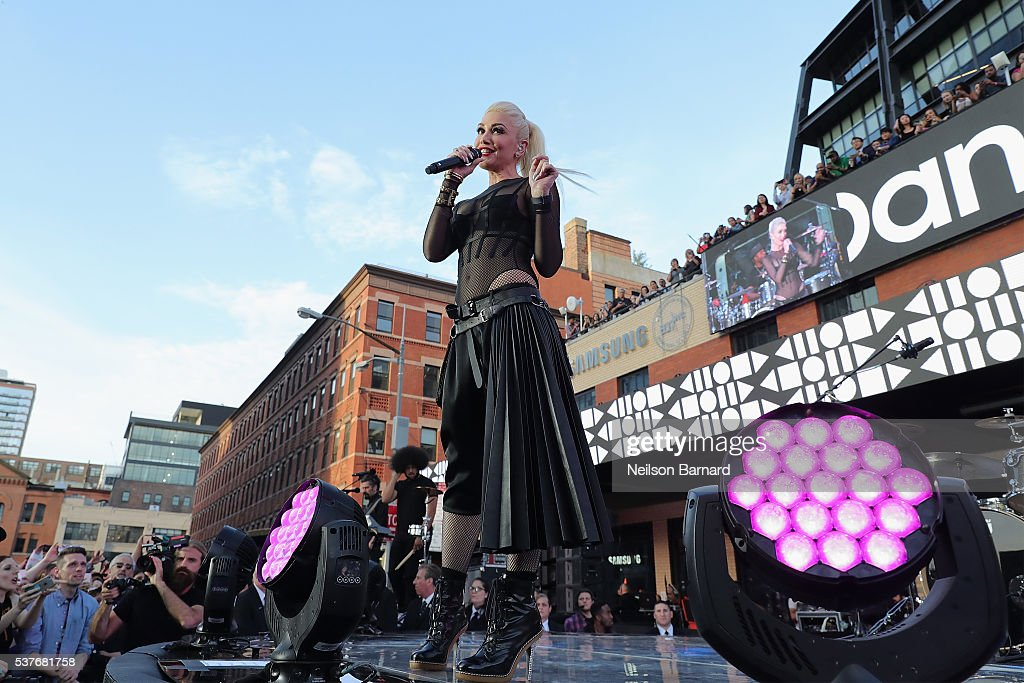Gwen Stefani performs at Samsungs celebration of A Galaxy of Possibility and unveiling of Gear Fit2 at Samsung 837 on June 2 2016 in New York City
