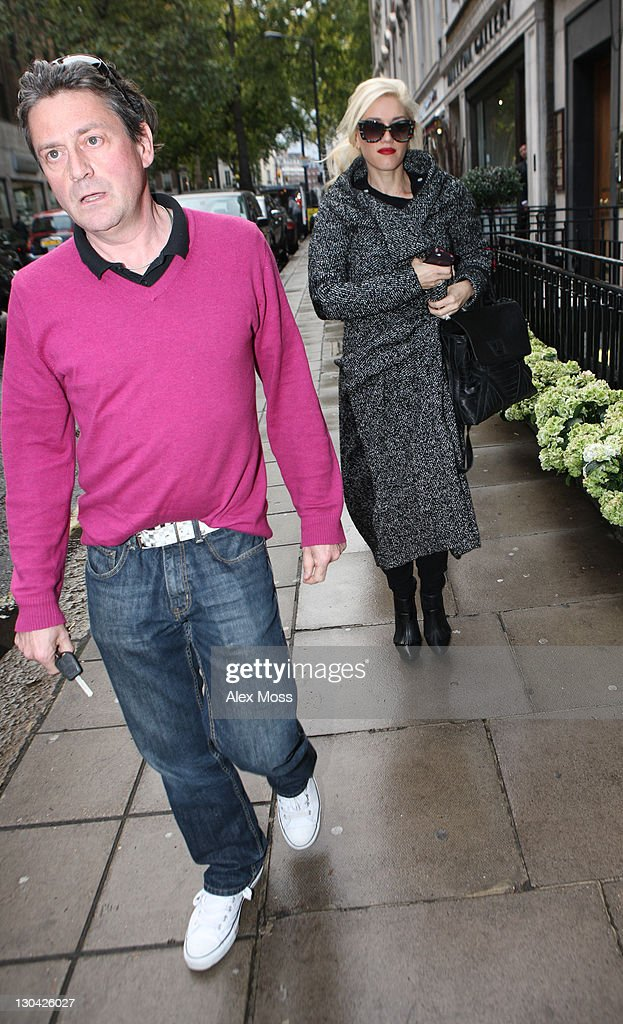 <a gi-track='captionPersonalityLinkClicked' href=/galleries/search?phrase=Gwen+Stefani&family=editorial&specificpeople=156423 ng-click='$event.stopPropagation()'>Gwen Stefani</a> sighted in Mayfair with Gavin Rossdale's brother on October 26, 2011 in London, England.