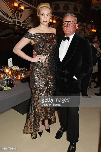 Gwendoline Christie and Giles Deacon attend a drinks reception at the British Fashion Awards in partnership with Swarovski at the London Coliseum on...