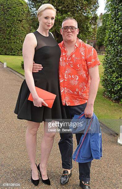 Gwendoline Christie and Giles Deacon attend The Ralph Lauren Vogue Wimbledon Summer Cocktail Party hosted by Alexandra Shulman and Boris Becker at...