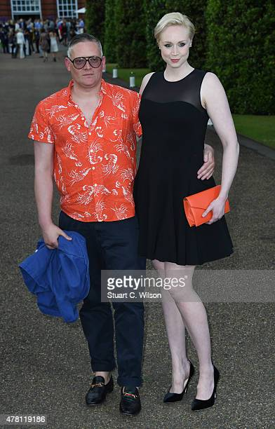 Gwendoline Christie and Giles Deacon attend the Vogue and Ralph Lauren Wimbledon party at The Orangery on June 22 2015 in London England