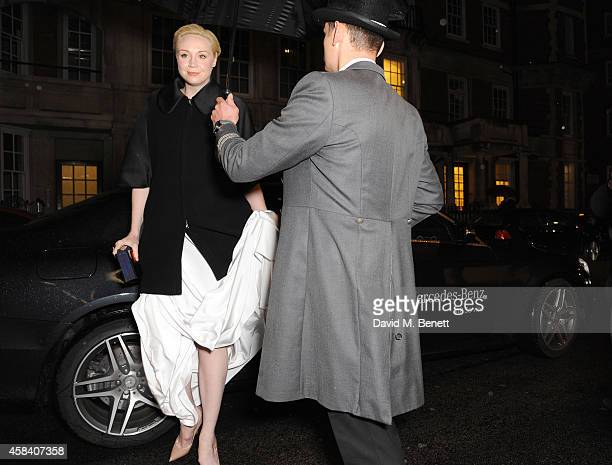 Gwendoline Christie arrives in style in a MercedesBenz at the Harper's Woman of the Year Awards at Claridge's Hotel on November 4 2014 in London...