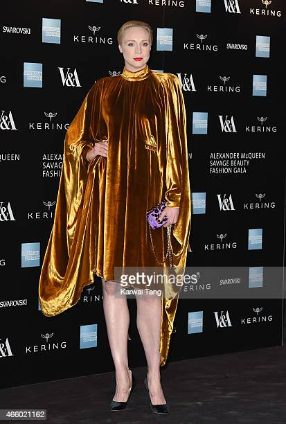 Gwendoline Christie attends a private view for the 'Alexander McQueen Savage Beauty' exhibition at Victoria Albert Museum on March 12 2015 in London...