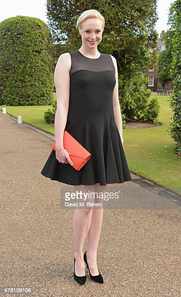Gwendoline Christie attends The Ralph Lauren Vogue Wimbledon Summer Cocktail Party hosted by Alexandra Shulman and Boris Becker at The Orangery at...