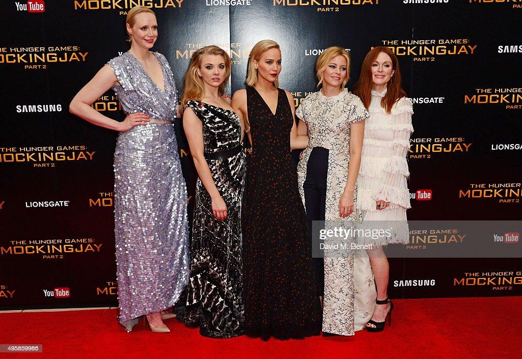Gwendoline Christie, Natalie Dormer, Jennifer Lawrence, Elizabeth Banks and Julianne Moore attend the UK Premiere of 'The Hunger Games: Mockingjay Part 2' at Odeon Leicester Square on November 5, 2015 in London, England.