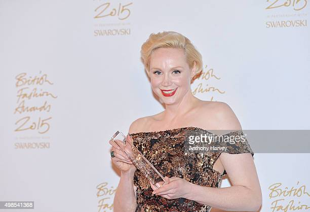 Gwendoline Christie poses in the Winners Room at the British Fashion Awards 2015 at London Coliseum on November 23 2015 in London England