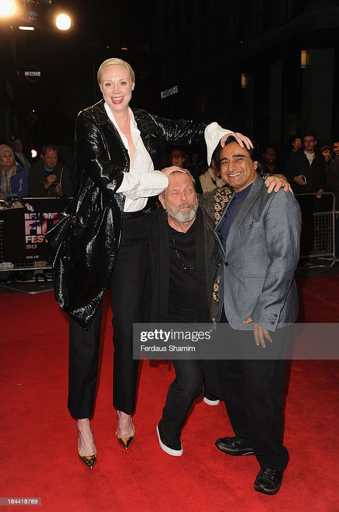 Gwendoline Christie Terry Gilliam and Sanjeev Bhaskar attend a screening of 'Zero Theorem' during the 57th BFI London Film Festival at Odeon West End...