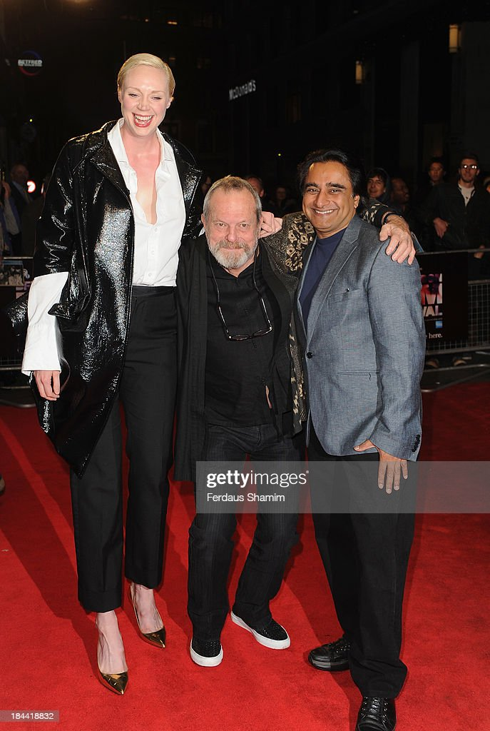 <a gi-track='captionPersonalityLinkClicked' href=/galleries/search?phrase=Gwendoline+Christie&family=editorial&specificpeople=6341361 ng-click='$event.stopPropagation()'>Gwendoline Christie</a>, <a gi-track='captionPersonalityLinkClicked' href=/galleries/search?phrase=Terry+Gilliam&family=editorial&specificpeople=221636 ng-click='$event.stopPropagation()'>Terry Gilliam</a> and <a gi-track='captionPersonalityLinkClicked' href=/galleries/search?phrase=Sanjeev+Bhaskar&family=editorial&specificpeople=703950 ng-click='$event.stopPropagation()'>Sanjeev Bhaskar</a> attend a screening of 'Zero Theorem' during the 57th BFI London Film Festival at Odeon West End on October 13, 2013 in London, England.