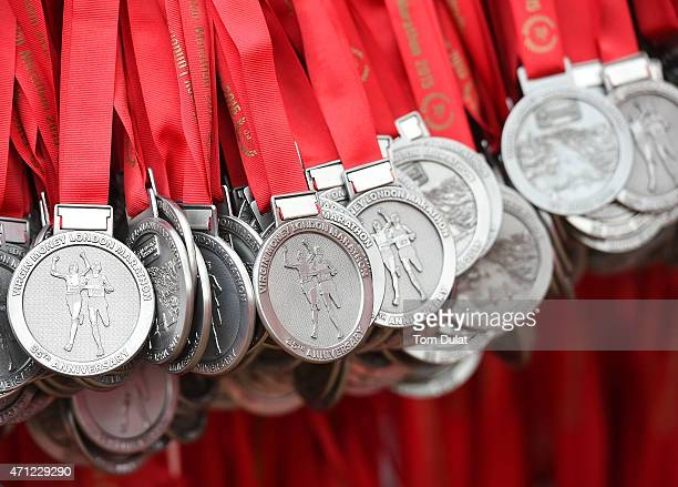 Gweneral view of the medals during the Virgin Money London Marathon on April 26 2015 in London England