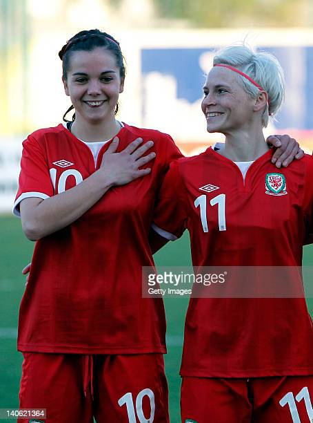 Gwennan Harries and Jessica Fishlock of Wales during the Women Algarve Cup match between Wales and Ireland on March 2 2012 in Ferreiras Portugal
