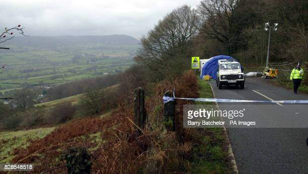 Gwent Police close the area along the road between Blaenavon and Abergavenny south Wales where the remains of a body wearing jewellery belonging to...
