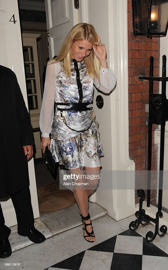 Gwenyth Paltrow sighting leaving the Goop Party at Mark's Club Mayfair on May 21, 2013 in London, England.