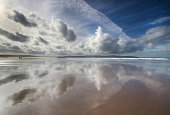Gwithian Beach - Stormy Cloud Reflections