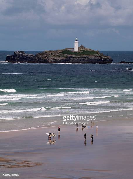 Gwithian beach with Godrevy lighthouse Cornwall UK