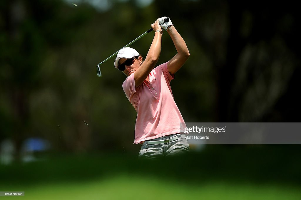 Gwladys Nocera of France plays her shot on the 3rd hole during the Australian Ladies Masters at Royal Pines Resort on February 3, 2013 on the Gold Coast, Australia.