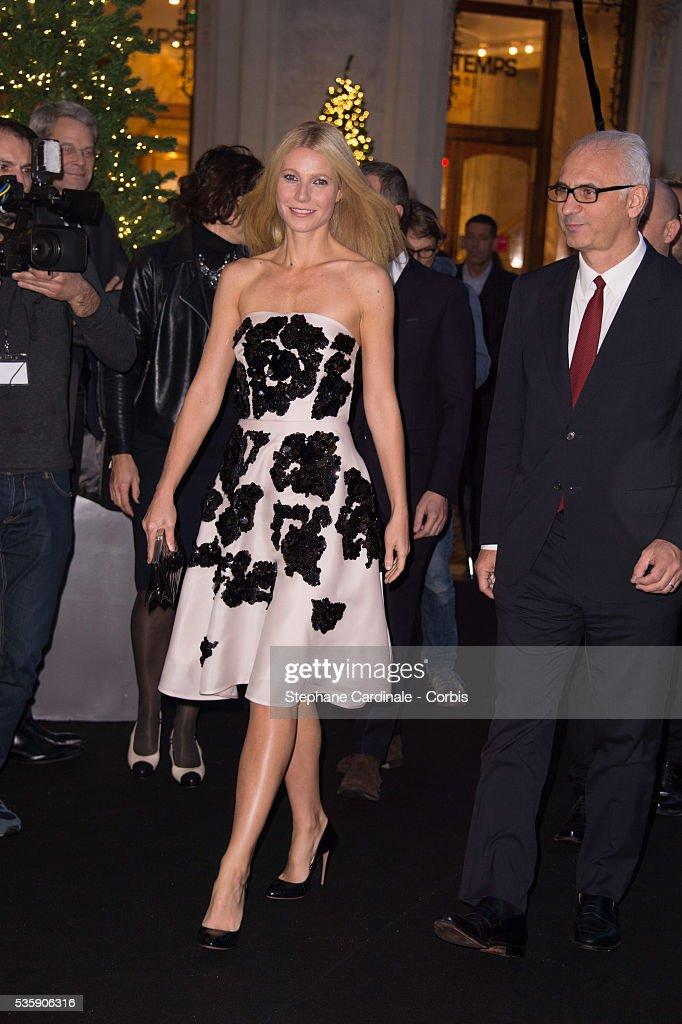 Gwyneth Paltrow and Printemps' CEO Paolo de Cesare launch the Printemps Christmas Decorations Inauguration at Printemps Haussmann, in Paris.