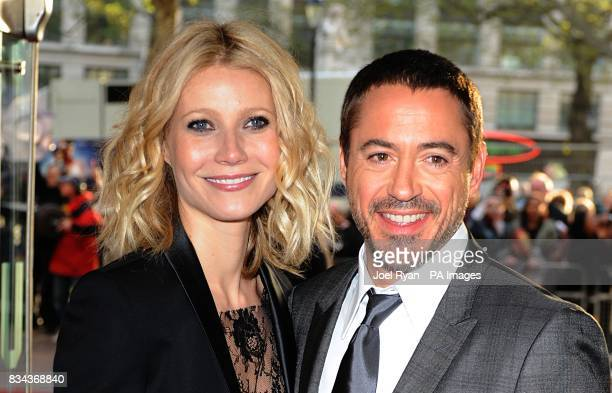 Gwyneth Paltrow and Robert Downey Jr arrive for the UK charity premiere of Iron Man at the Odeon West End Cinema Leicester Square London