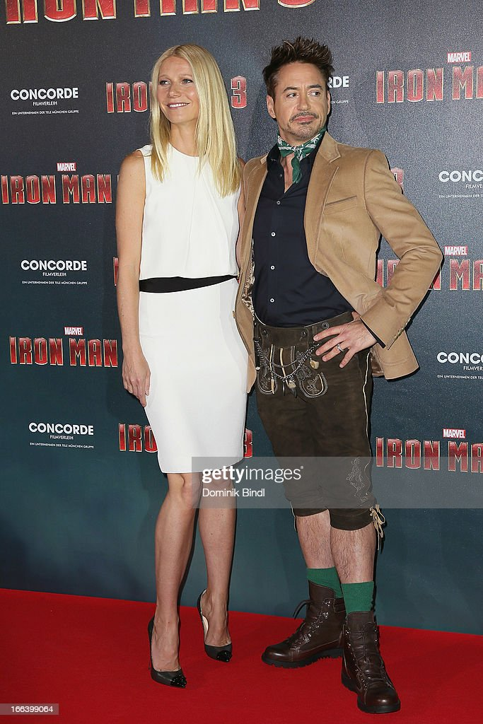 <a gi-track='captionPersonalityLinkClicked' href=/galleries/search?phrase=Gwyneth+Paltrow&family=editorial&specificpeople=171431 ng-click='$event.stopPropagation()'>Gwyneth Paltrow</a> and Robert Downey Jr attend the 'Iron Man 3' Photocall at Hotel Bayerischer Hof on April 12, 2013 in Munich, Germany.