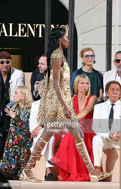 Gwyneth Paltrow and Valentino Garavani attend the Valentinos 'Mirabilia Romae' haute couture collection fall/winter 2015 2016 at Piazza Mignanelli on...