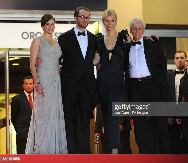 Gwyneth Paltrow and writer's James Gray andRic Menello arrive for the screening of 'Two Lovers' during the 61st Cannes Film Festival in Cannes France