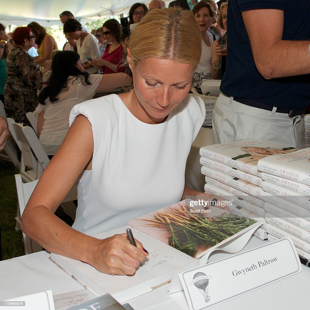 <a gi-track='captionPersonalityLinkClicked' href=/galleries/search?phrase=Gwyneth+Paltrow&family=editorial&specificpeople=171431 ng-click='$event.stopPropagation()'>Gwyneth Paltrow</a> attends 9th Annual Authors Night at The East Hampton Library on August 10, 2013 in East Hampton, New York.