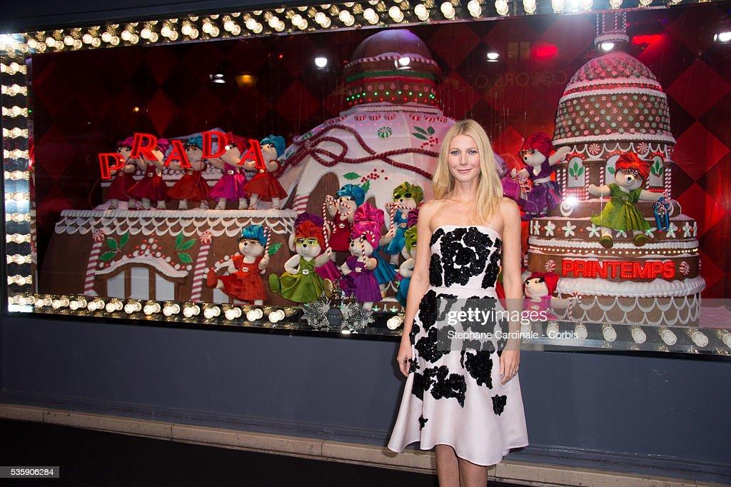 Gwyneth Paltrow launches the Printemps Christmas Decorations Inauguration at Printemps Haussmann, in Paris.