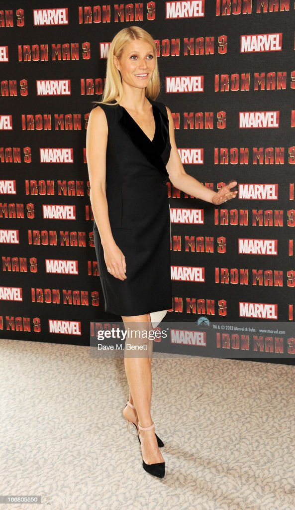 Gwyneth Paltrow poses at the Iron Man 3 photocall at The Dorchester on April 17, 2013 in London, England.