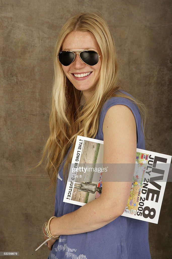 Gwyneth Paltrow poses for a studio portrait backstage at 'Live 8 London' in Hyde Park on July 2, 2005 in London, England. The free concert is one of ten simultaneous international gigs including Philadelphia, Berlin, Rome, Paris, Barrie, Tokyo, Cornwall, Moscow and Johannesburg. The concerts precede the G8 summit (July 6-8) to raising awareness for MAKEpovertyHISTORY.