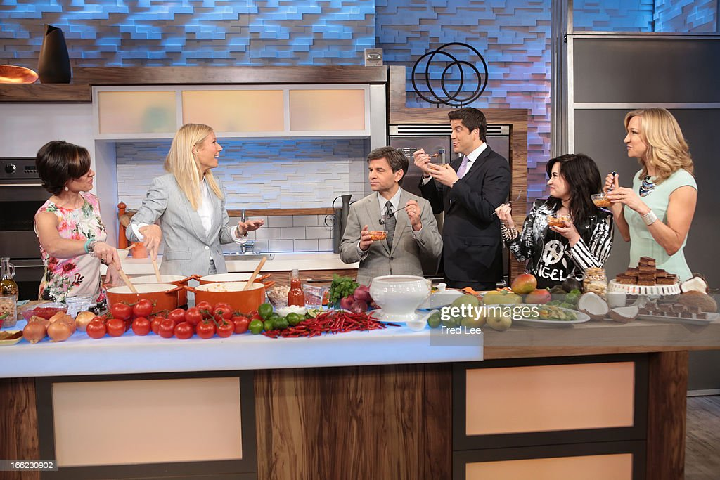 AMERICA - Gwyneth Paltrow prepares recipes on 'Good Morning America,' 4/10/13, airing on the ABC Television Network. (Photo by Fred Lee/ABC via Getty Images) ELIZABETH VARGAS, GWYNETH PALTROW, GEORGE STEPHANOPOULOS, JOSH ELLIOTT, DEMI LOVATO, LARA SPENCER