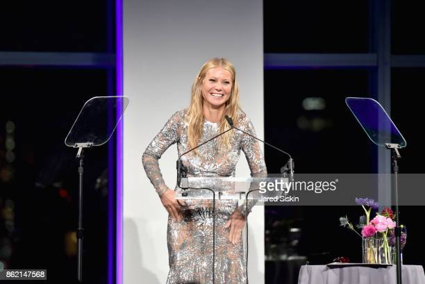 Gwyneth Paltrow speaks onstage during the 11th Annual Golden Heart Awards benefiting God's Love We Deliver at Spring Studios on October 16 2017 in...