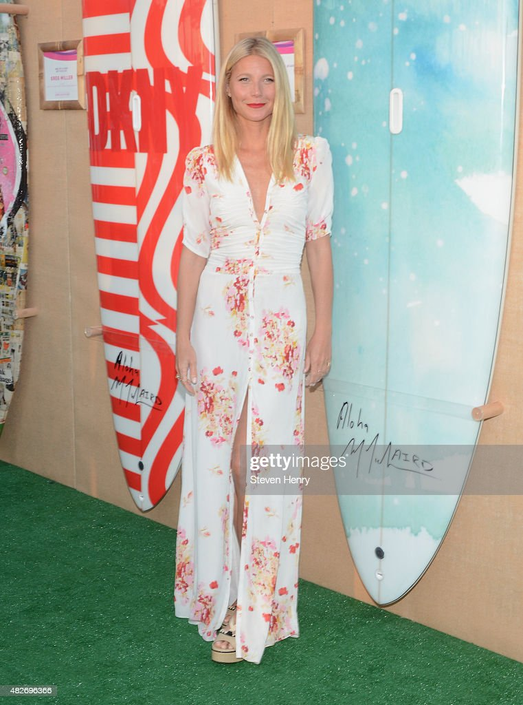 Gwyneth Paltrow toasts to Paddle for Pink with Moet Ice Imperial on August 1 2015 in Bridgehampton New York
