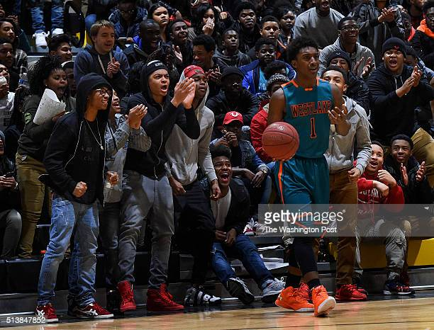 Gwynn Park fans taunt Westlake's is called for a foul during the Maryland 2A South Region boys' basketball championship game between Westlake and...