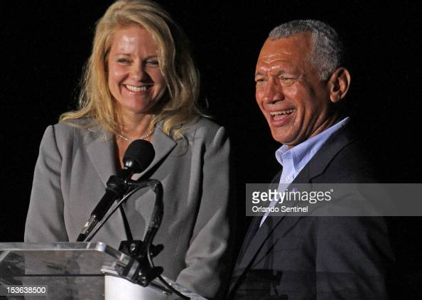 Gwynne Shotwell left president of SpaceX and Charles Bolden NASA administrator smile after Falcon 9 rocket carrying a Dragon blasts off Sunday...