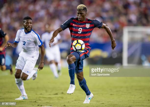 Gyasi Zardes brings the ball up field during the CONCACAF Gold Cup soccer match between USA and Martinique on July 12 2017 at Raymond James Stadium...