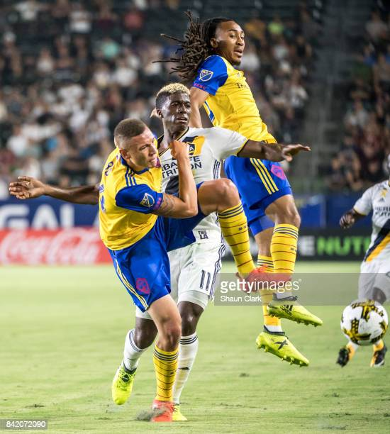 Gyasi Zardes of Los Angeles Galaxy battles for the ball during the Los Angeles Galaxy's MLS match against Colorado Rapids at the StubHub Center on...