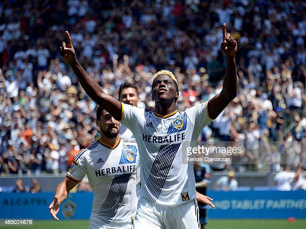 Gyasi Zardes of Los Angeles Galaxy celebrates his goal against New York City FC during the first half at StubHub Center August 23 in Carson California