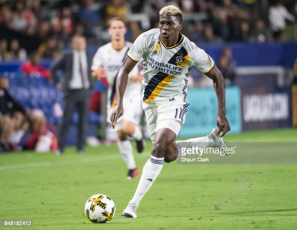 Gyasi Zardes of Los Angeles Galaxy during the Los Angeles Galaxy's MLS match against Toronto FC at the StubHub Center on September 16 2017 in Carson...