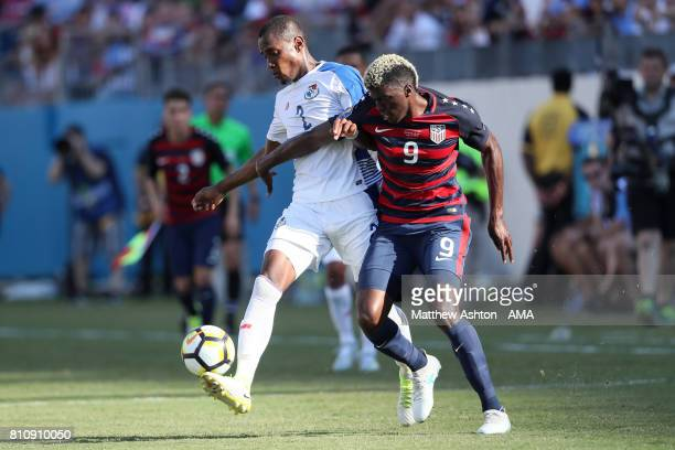Gyasi Zardes of the United States battles with Michael Murillo of Panama during the 2017 CONCACAF Gold Cup Group B match between the United States...