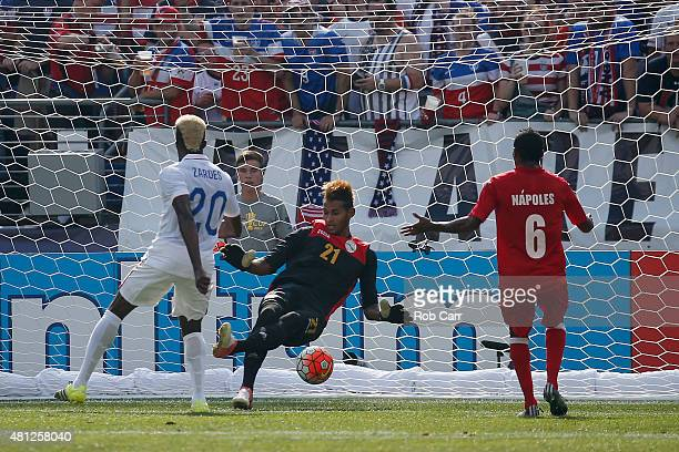 Gyasi Zardes of USA scores a first half goal on goalie Diosvelis Guerra of Cuba during the 2015 CONCACAF Gold Cup quarterfinal match at MT Bank...