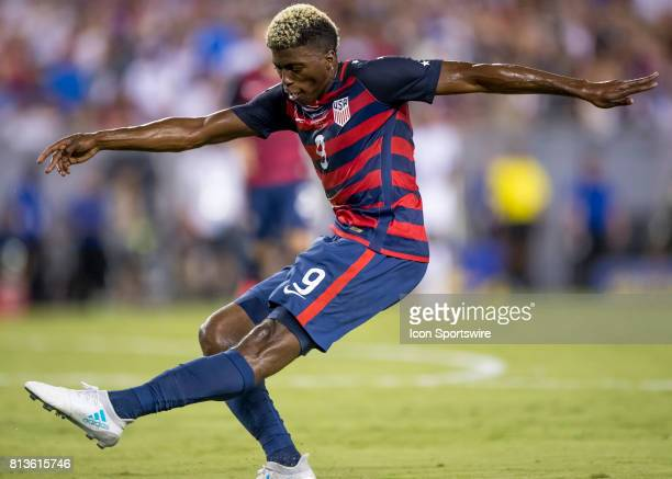 Gyasi Zardes shoots on goal during the CONCACAF Gold Cup soccer match between USA and Martinique on July 12 2017 at Raymond James Stadium in Tampa FL