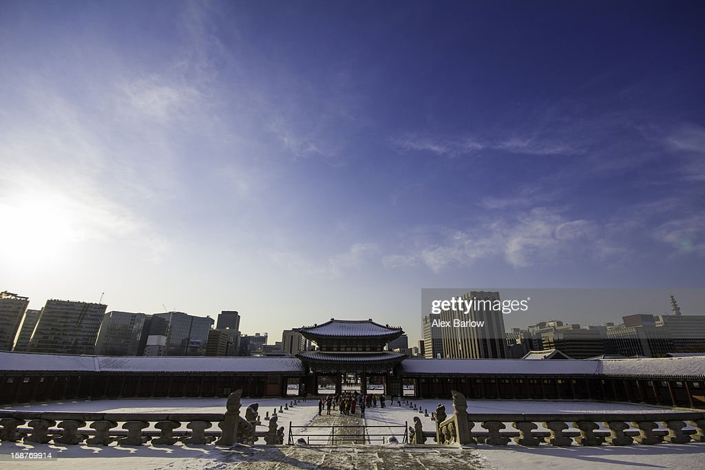 Gyeongbok Palace and the City : Stock Photo